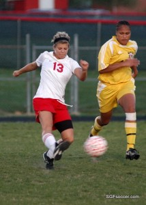 Kelsey Haist, Nixa (2011) in front of McKenna Adams, April 2010