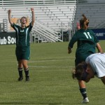 Natalie Smid celebrates Bekah Bade&#039;s game-winner