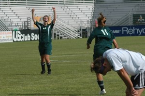 Natalie Smid celebrates Bekah Bade's game-winner