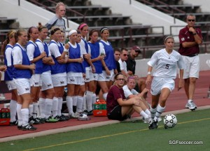 Katelyn Frederickson, Missouri State (2014) in front of the bench