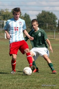 Alec Martinez (Glendale 2011) in front of Reid Harbach (Catholic 2012)