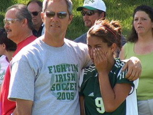 Scott Bailes with daughter Tara, 2005 Class 1 Quarterfinals