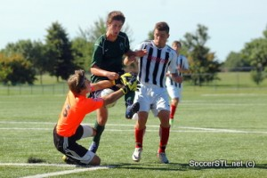 James Strauss (Catholic/SSC) saves against SLSG Elite, U17 Boys