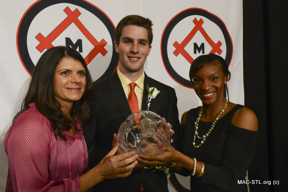 Mia Hamm with Patrick Mullin and Crystal Dunn, Hermann Award Winners 2012
