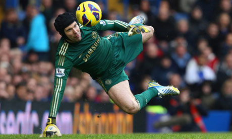 Petr Cech in action for Chelsea v Wigan